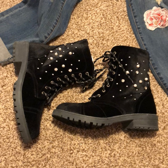 b3562df6a2e Madden Girl Black Velvet Pearl Crystal Boots 9.5 NWT